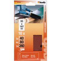 KWB rezgőcsiszoló papír 93x187mm vegyes szemcsés 10 db