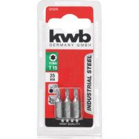 KWB Industrial TORX hajtó bit, acél, T6x25mm, 3db