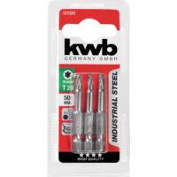 KWB Industrial TORX hajtó bit, acél, T20x50mm, 3db