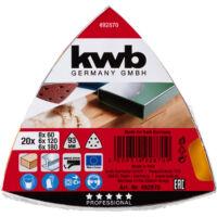 KWB PROFI QUICK-STICK tépőzáras alu.oxid delta csiszolópapír klt. 20 db fémre, fára 96 mm