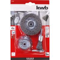 KWB Profi drótkefe készlet, krimpelt, acélhuzal, 4 részes