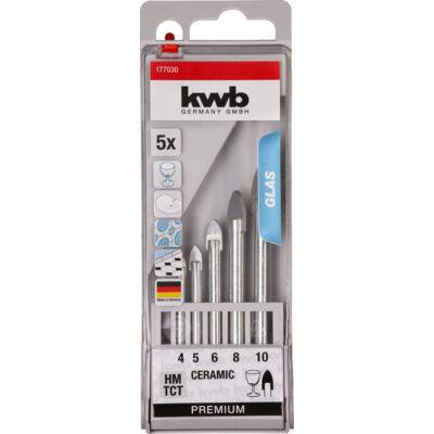 KWB Premium hengeres üvegfúrószár készlet, 5darabos